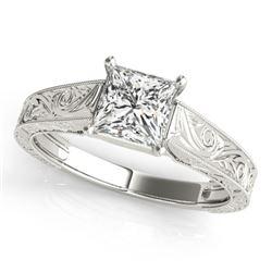 0.5 CTW Certified VS/SI Princess Diamond Ring 18K White Gold - REF-125W3F - 28119