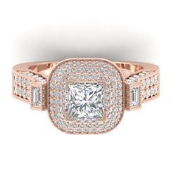 2.85 CTW Princess VS/SI Diamond Art Deco Micro Halo Ring 14K Rose Gold - REF-555N5Y - 30445