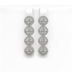 5.85 CTW Cushion Cut Diamond Designer Earrings 18K White Gold - REF-1090F2N - 42863