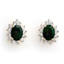 3.85 CTW Emerald & Diamond Earrings 14K Yellow Gold - REF-65W3F - 10508