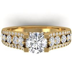 2.55 CTW Certified VS/SI Diamond Art Deco Micro Ring 14K Yellow Gold - REF-431W5F - 30299