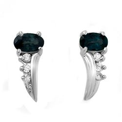 0.55 CTW Blue Sapphire & Diamond Earrings 18K White Gold - REF-19Y3K - 12798
