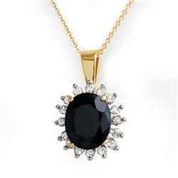 5.20 CTW Blue Sapphire & Diamond Pendant 14K Yellow Gold - REF-87W3F - 12765