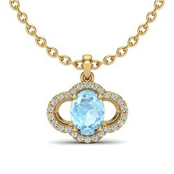 2 CTW Aquamarine & Micro Pave VS/SI Diamond Necklace 10K Yellow Gold - REF-34X8T - 20623