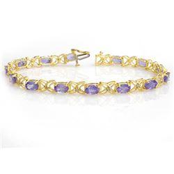 8.65 CTW Tanzanite & Diamond Bracelet 14K Yellow Gold - REF-118W2F - 13906