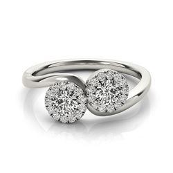 1.26 CTW Certified VS/SI Diamond 2 Stone 2 Stone Ring 18K White Gold - REF-215F3N - 28215