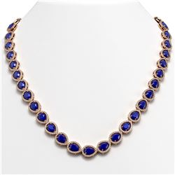 45.93 CTW Sapphire & Diamond Halo Necklace 10K Rose Gold - REF-674H2A - 41049