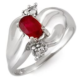 0.79 CTW Ruby & Diamond Ring 10K White Gold - REF-24T2M - 11059