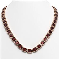 60.59 CTW Garnet & Diamond Halo Necklace 10K Rose Gold - REF-676A5X - 41376