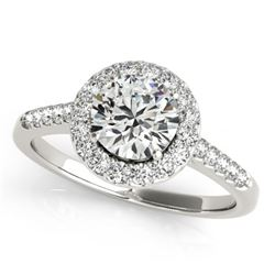 1.5 CTW Certified VS/SI Diamond Solitaire Halo Ring 18K White Gold - REF-400H9A - 26341