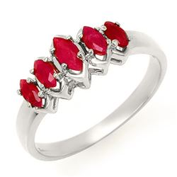 0.50 CTW Ruby Ring 18K White Gold - REF-31M6H - 13136
