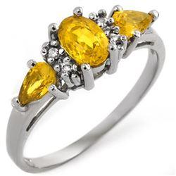 1.33 CTW Yellow Sapphire & Diamond Ring 10K White Gold - REF-19M8H - 11070
