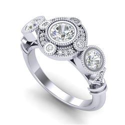 1.51 CTW VS/SI Diamond Solitaire Art Deco 3 Stone Ring 18K White Gold - REF-300N2Y - 36986