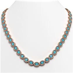 33.25 CTW Swiss Topaz & Diamond Halo Necklace 10K Rose Gold - REF-506K4W - 40434