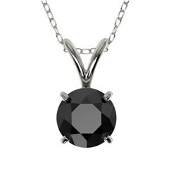 0.75 CTW Fancy Black VS Diamond Solitaire Necklace 10K White Gold - REF-20A5X - 33175