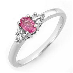 0.44 CTW Pink Sapphire & Diamond Ring 10K White Gold - REF-18Y2K - 10798