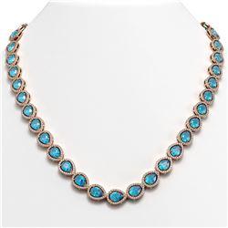 35.13 CTW Swiss Topaz & Diamond Halo Necklace 10K Rose Gold - REF-592H2A - 41076