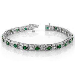 4.09 CTW Emerald & Diamond Bracelet 14K White Gold - REF-118N2Y - 10210