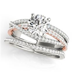1.54 CTW Certified VS/SI Diamond 2Pc Set Solitaire 14K White & Rose Gold - REF-395K3W - 32125