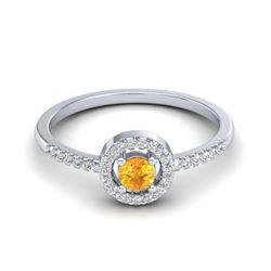 0.50 CTW Citrine & Micro Pave VS/SI Diamond Ring Solitaire Halo 18K White Gold - REF-36K2W - 20696