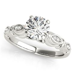 0.4 CTW Certified VS/SI Diamond Solitaire Antique Ring 18K White Gold - REF-77X5T - 27342