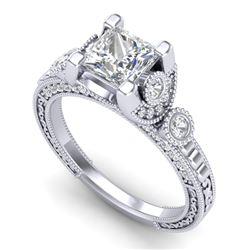 1.75 CTW Princess VS/SI Diamond Art Deco Ring 18K White Gold - REF-445Y5K - 37148