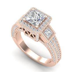 3.53 CTW Princess VS/SI Diamond Micro Pave 3 Stone Ring 18K Rose Gold - REF-618W2F - 37176