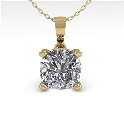 0.50 CTW VS/SI Cushion Diamond Designer Necklace 14K Yellow Gold - REF-85Y8K - 38414