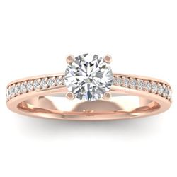1.01 CTW Certified VS/SI Diamond Solitaire Art Deco Ring 14K Rose Gold - REF-176K5W - 30382