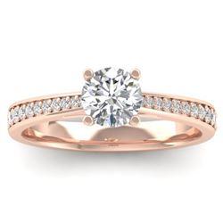 1.01 CTW Certified VS/SI Diamond Solitaire Art Deco Ring 14K Rose Gold - REF-176K5W - 30382
