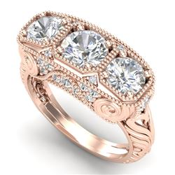 2.51 CTW VS/SI Diamond Solitaire Art Deco 3 Stone Ring 18K Rose Gold - REF-436A4X - 36990