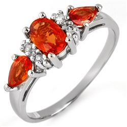 1.33 CTW Orange Sapphire & Diamond Ring 10K White Gold - REF-19T5M - 11292