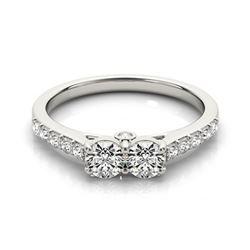 1.5 CTW Certified VS/SI Diamond 2 Stone 2 Stone Ring 18K White Gold - REF-215F6N - 28218