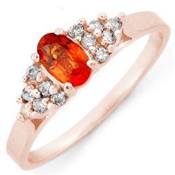0.74 CTW Orange Sapphire & Diamond Ring 14K Rose Gold - REF-27H6A - 10475