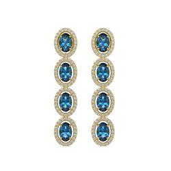 6.28 CTW London Topaz & Diamond Halo Earrings 10K Yellow Gold - REF-104M5H - 40540