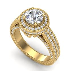 2.8 CTW VS/SI Diamond Solitaire Art Deco Ring 18K Yellow Gold - REF-527A3X - 37138