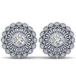 1.5 CTW Certified VS/SI Diamond Art Deco Stud Earrings 14K White Gold - REF-204F2N - 30555
