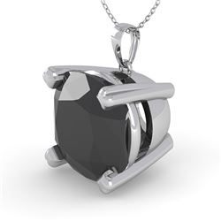 6.0 CTW Cushion Black Diamond Designer Necklace 14K White Gold - REF-131M3H - 38443