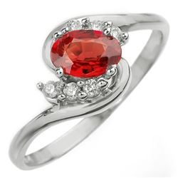 0.70 CTW Red Sapphire & Diamond Ring 14K White Gold - REF-22X4T - 10254