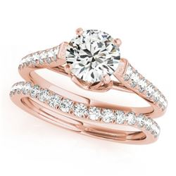 1.58 CTW Certified VS/SI Diamond Solitaire 2Pc Wedding Set 14K Rose Gold - REF-222X9T - 31683