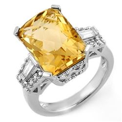 9.55 CTW Citrine & Diamond Ring 14K White Gold - REF-94A2X - 11566