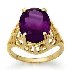 4.50 CTW Amethyst Ring 10K Yellow Gold - REF-22F8N - 13600
