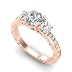 1.41 CTW VS/SI Diamond Solitaire Art Deco 3 Stone Ring 18K Rose Gold - REF-263M6H - 37008