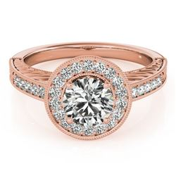 1.07 CTW Certified VS/SI Diamond Solitaire Halo Ring 18K Rose Gold - REF-216W2F - 26522