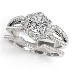 1.35 CTW Certified VS/SI Diamond 2Pc Wedding Set Solitaire Halo 14K White Gold - REF-217A5X - 31151