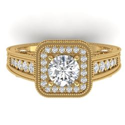 2 CTW Certified VS/SI Diamond Art Deco Halo Ring 14K Yellow Gold - REF-258M2H - 30497