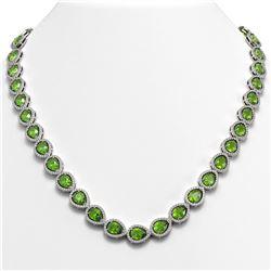 33.35 CTW Peridot & Diamond Halo Necklace 10K White Gold - REF-664T2M - 41069