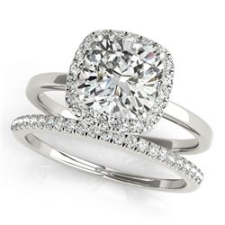 1.33 CTW Certified VS/SI Cushion Diamond 2Pc Set Solitaire Halo 14K White Gold - REF-431M3H - 31412