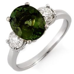 3.25 CTW Green Tourmaline & Diamond Ring 18K White Gold - REF-132T2M - 10093