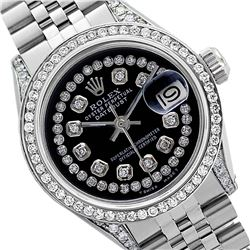Rolex Ladies Stainless Steel, Diamond Dial & Diamond Bezel, Sapphire Crystal - REF-449W7H